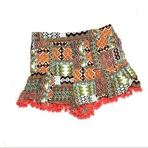 Umgee High-Waisted Boho Shorts Size Medium